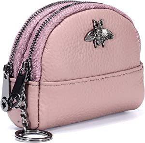 imeetu Women Coin Purse Mini Pouch Leather Wallet with Keychain Ring(Pink)
