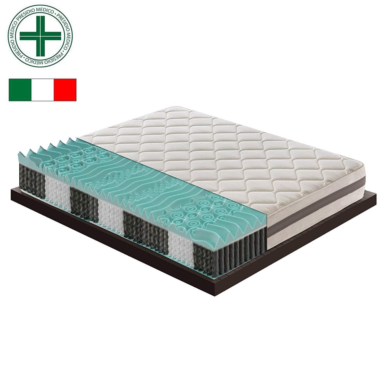 Materassiedoghe Colchón de muelles independiente con una capa de espuma viscoelástica y 9 zonas diferentes - ortopédicas - ergonómicas - 100% Made in Italy ...