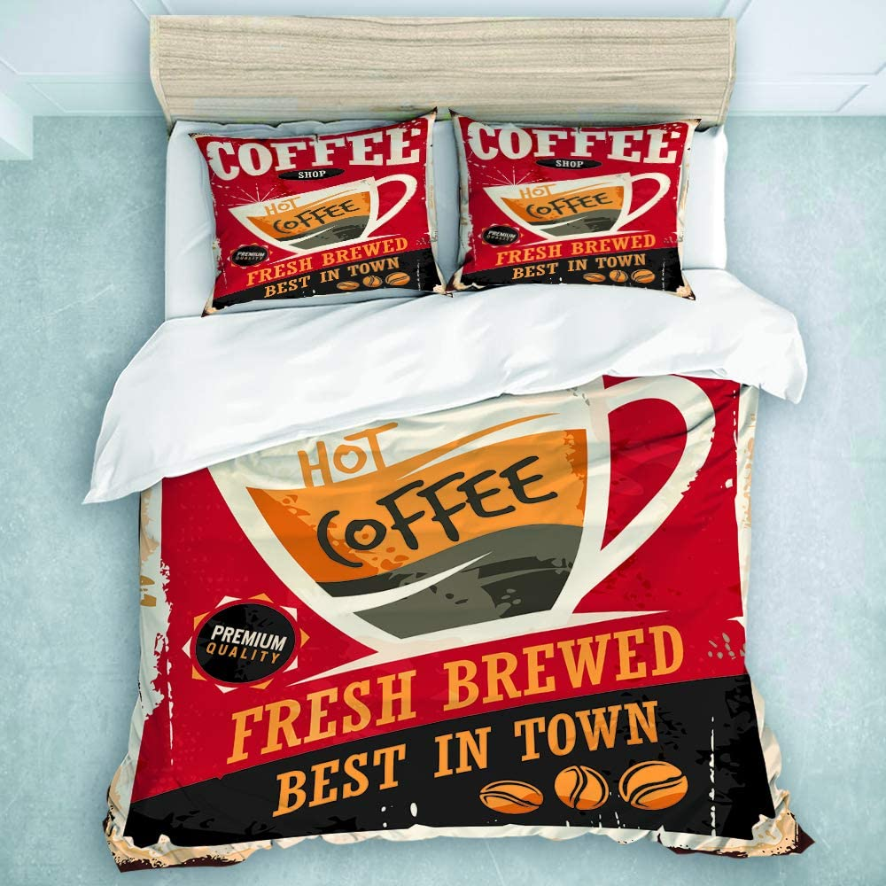 CIKYOWAY Duvet Cover Set, Coffee Retro Tin Sign On Red Cafe Bar Interior Promotional Material Vintage Cup and Beans, Teens Boys Bedding Collection 3 Pieces (Queen Size)