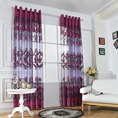 magideal 100x250cm modern transparent fenstervorhang voile vorhang drapier fr jalousie wohnzimmer haus fenster balkon dekoration - Jalousie Wohnzimmer