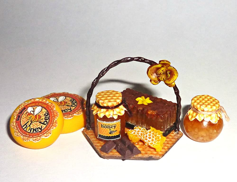 Dollhouse miniature food 1:12 Jar of Honey with Label NEW