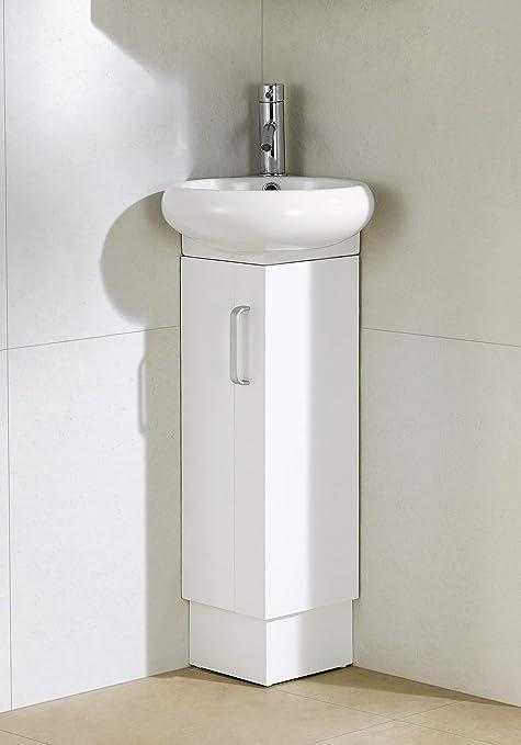 Milan Corner Bathroom Vanity Set White Home Kitchen