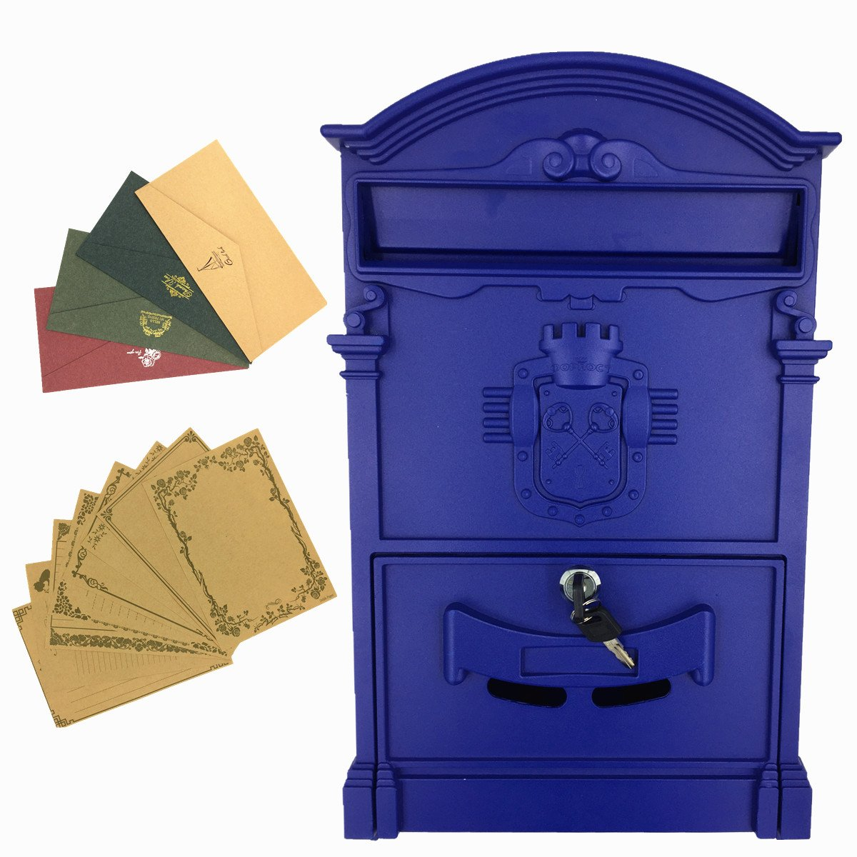 Yahead Outdoor Mailbox Retro Vintage European Aluminum Wall Mounted Mail Box Post Box Secure Letterbox Outside Mailboxes with 8pcs Retro Writing Stationery Paper and 4pcs Envelopes by Yahead