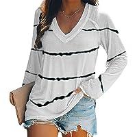 Camisa para Mujer Manga Larga Blusas Cuello en V Camiseta Túnica Casual Elegante Tops Rayas T-Shirt