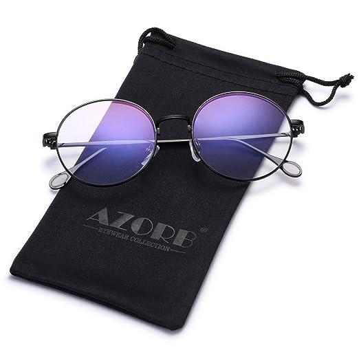 82694f1d70 AZORB Retro Round Clear Lens Glasse Metal Frame Non-Prescription Eyeglasses  for Men Women (