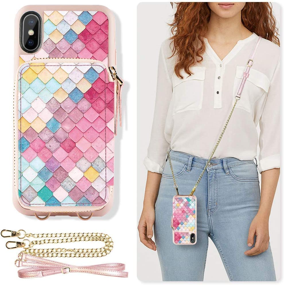 ZVE Case for iPhone Xs Max Case, 6.5 inch, Walllet Case with Credit Card Holder Slot Crossbody Chain Handbag Purse Wrist Zipper Strap Case Cover for Apple iPhone Xs Max 6.5 inch - Mermaid Wall