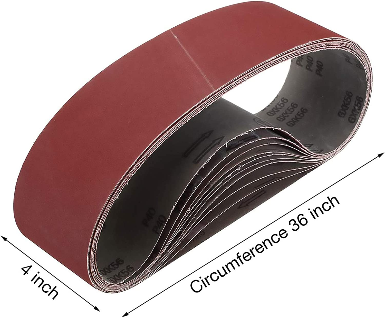 Miady Lot de 10 courroies abrasives en oxyde daluminium 100 mm x 915 mm Grain assortis 80//120//150//240//400