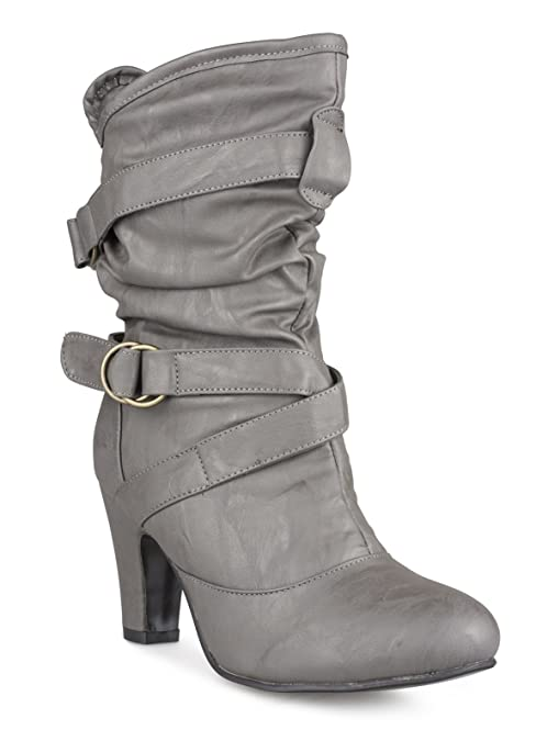 5b61161464e Twisted Women s Lillian Wide Width Faux Leather High Heeled Fashion Mid  Calf Boots - LILLIAN33P Grey