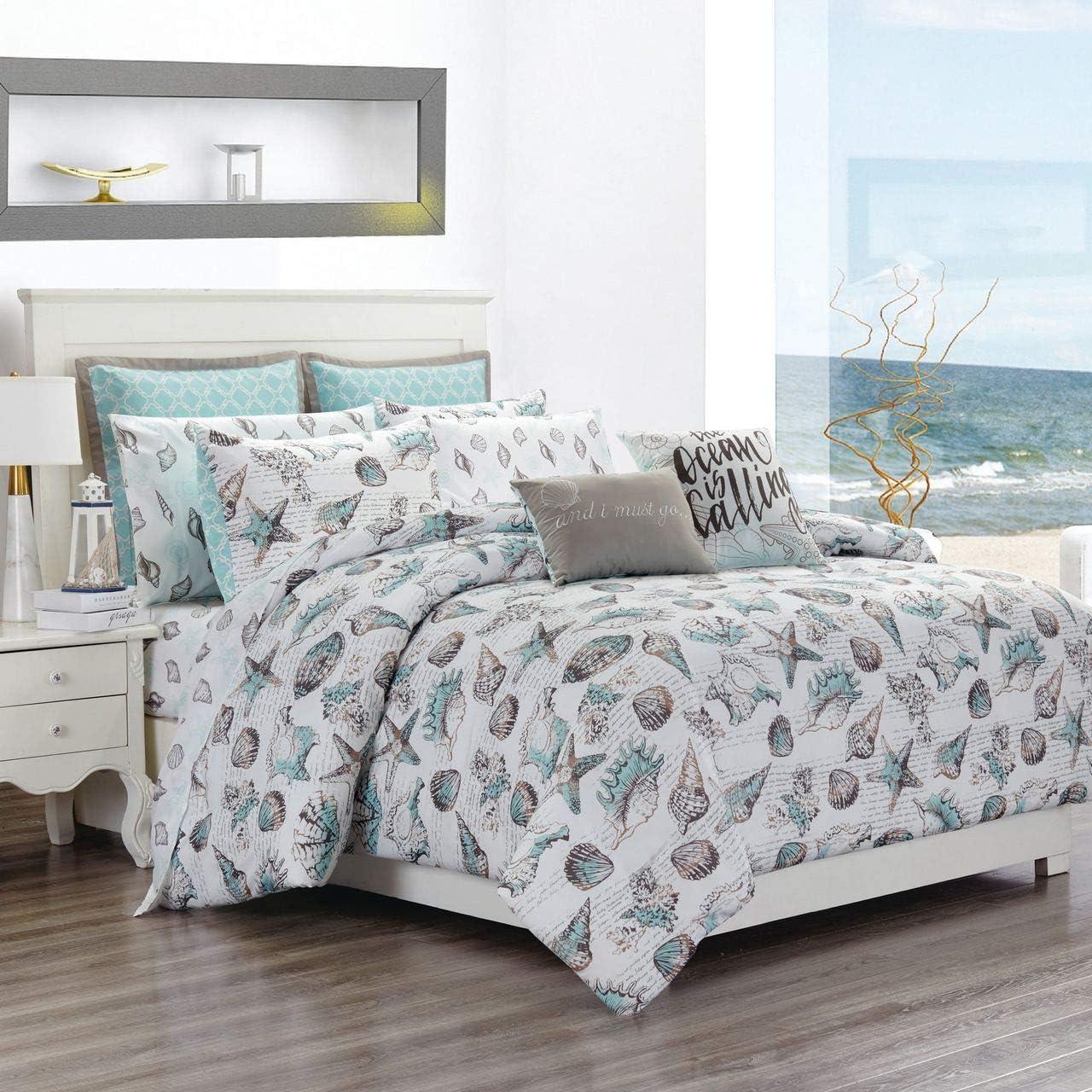KingLinen 12 Piece Seashells Aqua/Gray Reversible Comforter Set with Sheets Queen