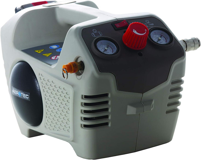 Aerotec 200801 Compresor (2 – 8 Bar, Tanque de 2 l, Incluye regulador de presión, batería de 24 V, Cargador)