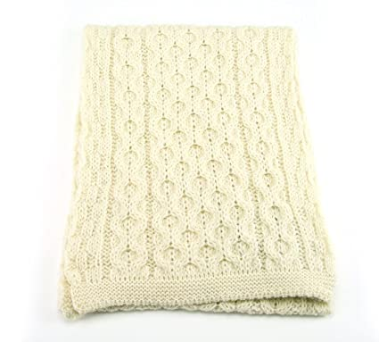 9f55025029a09 British Wool Knitted Aran Scarf - Cream- Made in Britain using 100% British  Wool