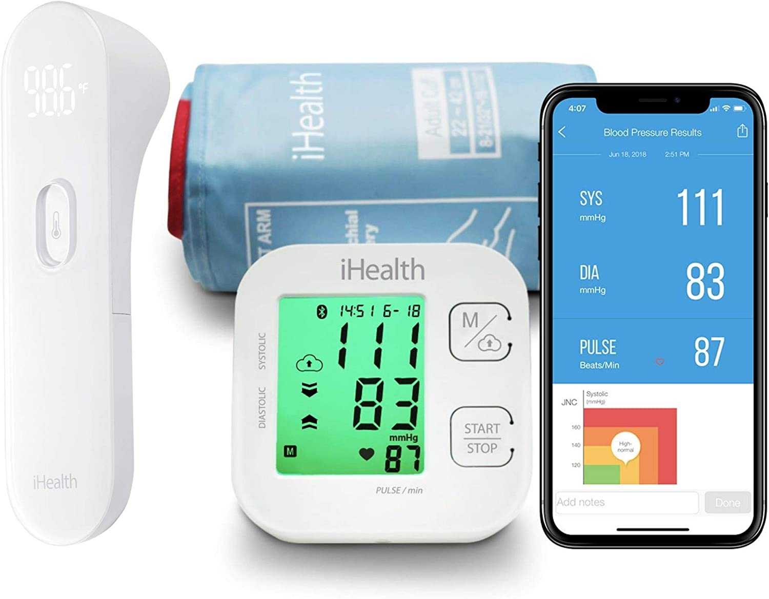 iHealth No Touch Thermometer for Adults and iHealth Track Wireless Blood Pressure Monitor