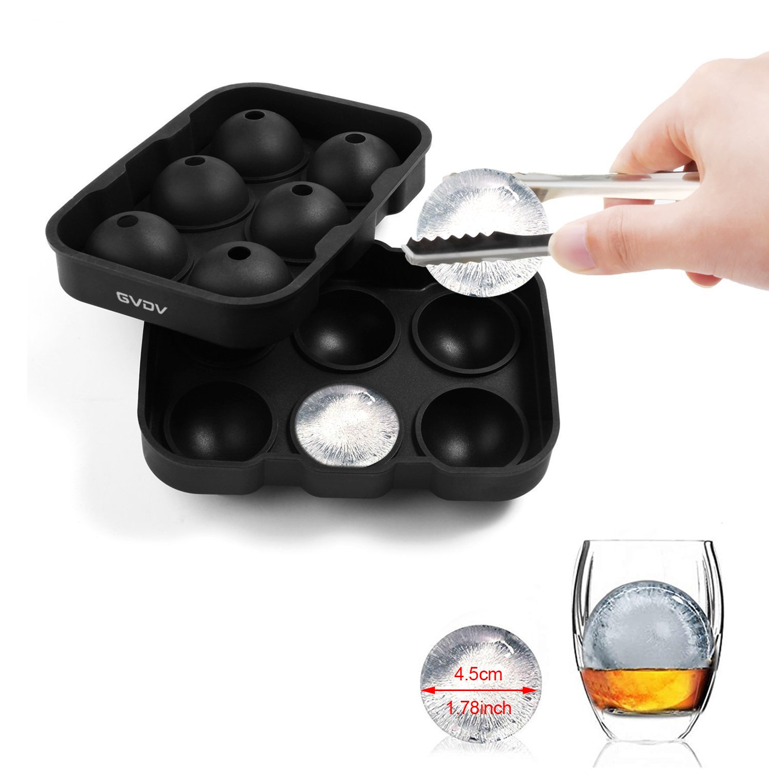 Ice Ball Maker Mold, GVDV Easy Release Flexible Silicone Round Spheres Ice Tray - Molds 6 X 4.5cm Round Whiskey Ice Balls (Black)