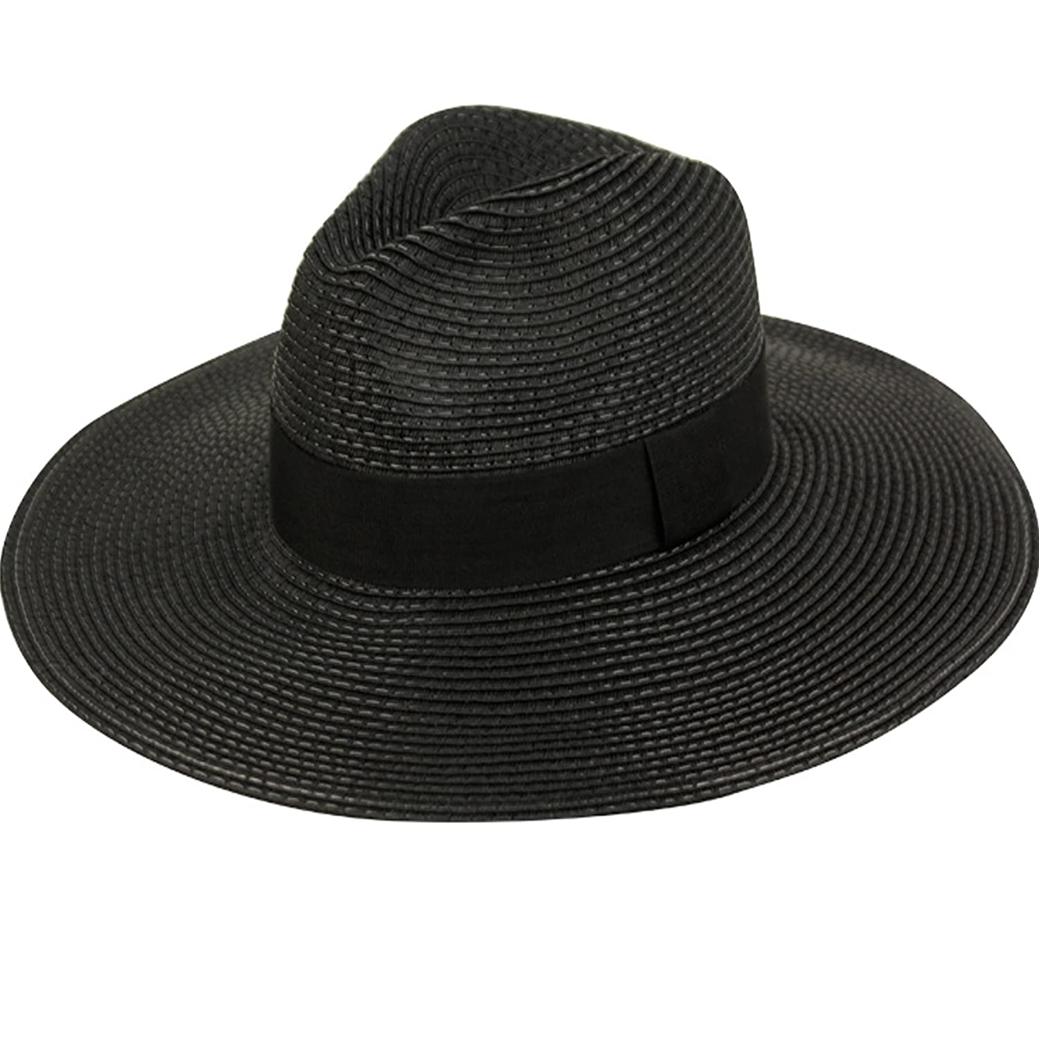 9c256177dc9a2 Summer Classic Straw Panama Fedora Sun Hat In Solid Color W  Black  Grosgrain Band Trim (BLACK) at Amazon Women s Clothing store