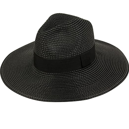c4d831950f8 Summer Classic Straw Panama Fedora Sun Hat In Solid Color W  Black  Grosgrain Band Trim