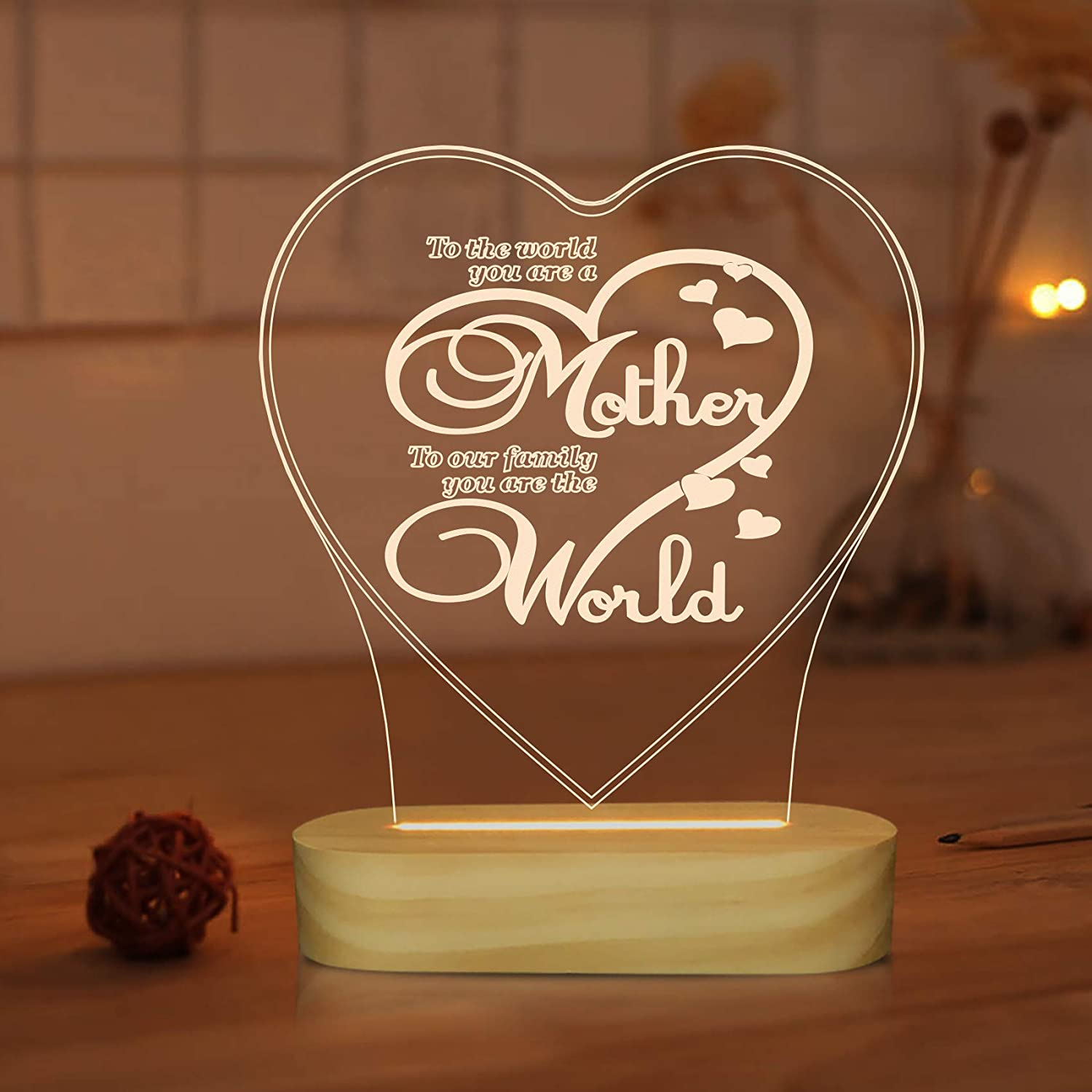 Love 3D Night Light LED Illusion Table Lamp for Mom Mother Holiday Birthday Sweet Gifts,Warm White Color Decor Lighting