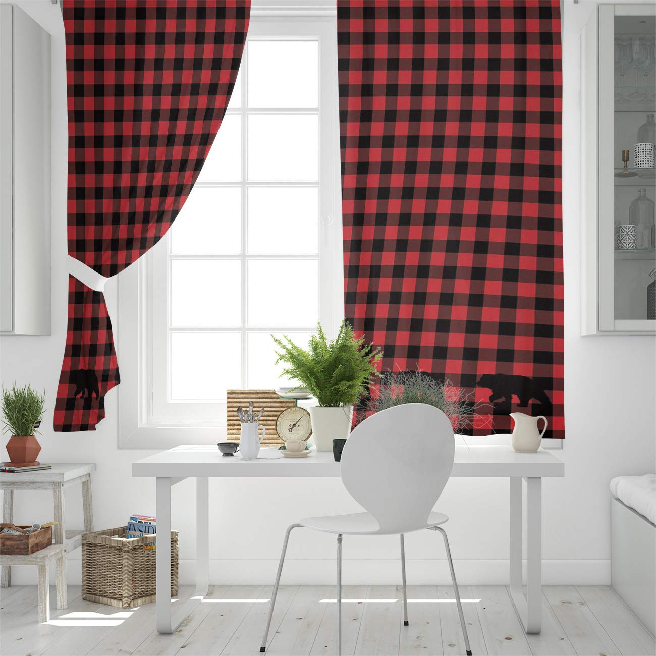 SODIKA Grommet Window Panel Curtain Set Room D/écor Curtain Drapes for Living Room Dining Bedroom Buffalo Check Plaid Bear Applique,Each 27.5 by 39 Inch,Set of Two Panels
