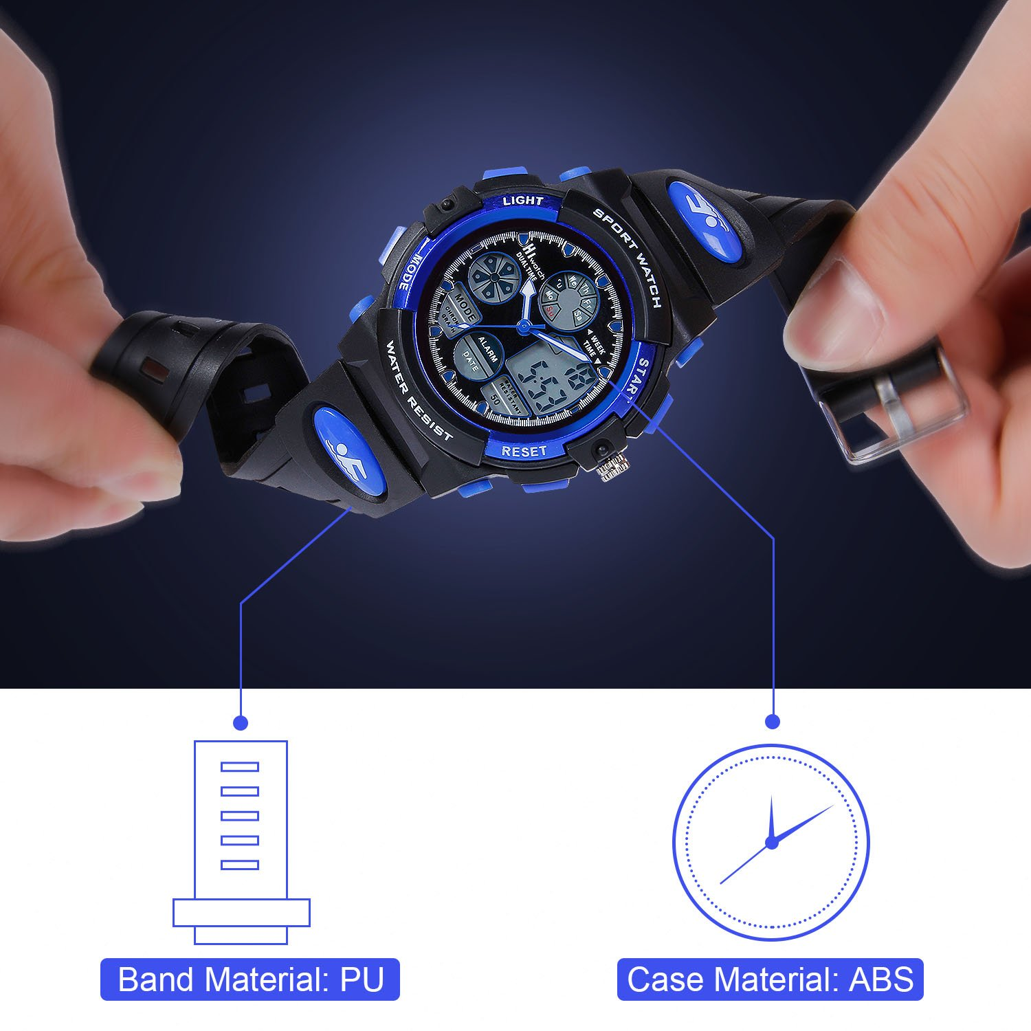 HIwatch Youth Watches Boys Girls Water-resistant Sports Digital Wrist Watch for Teenager Students,Blue by Hi Watch (Image #6)