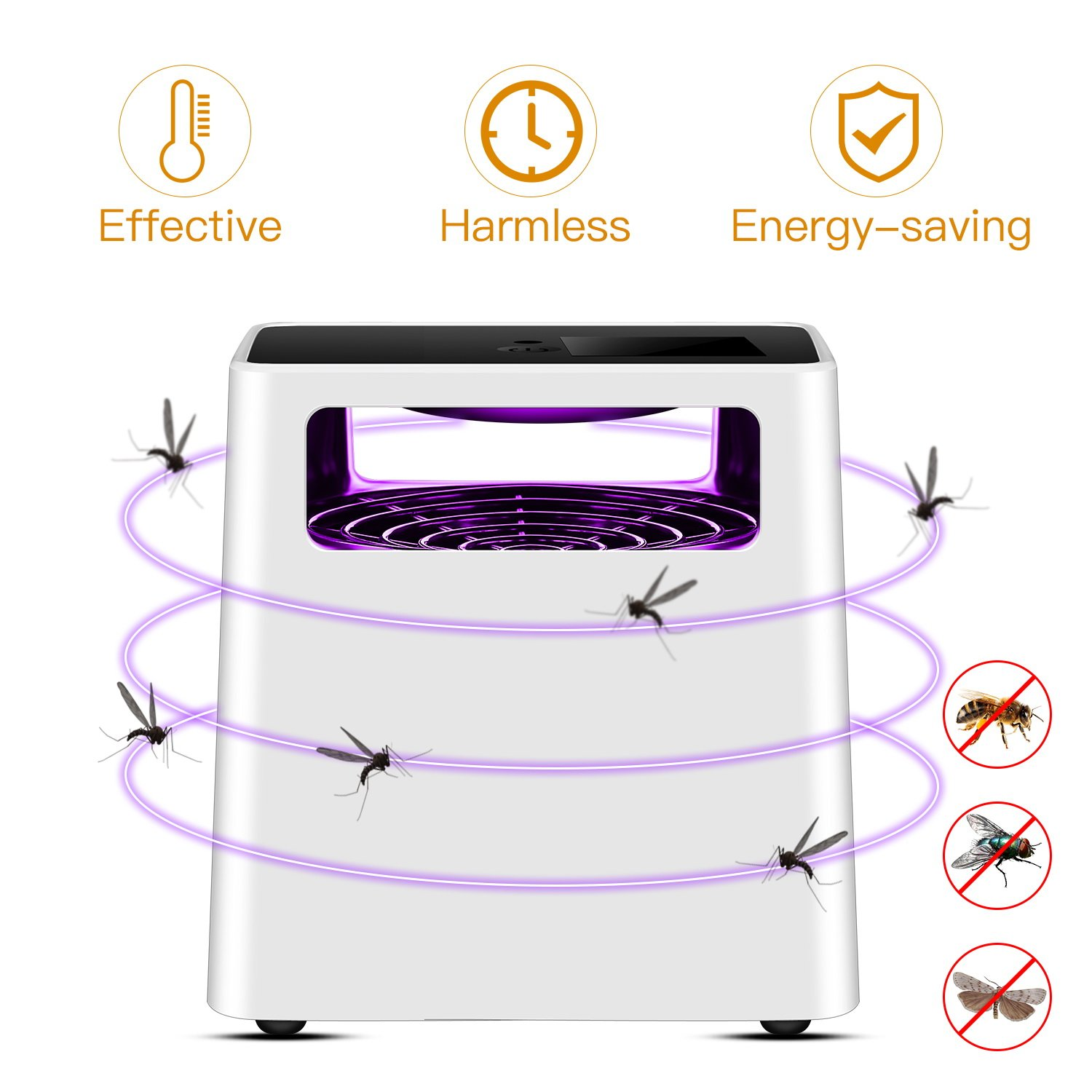 Indoor Mosquitos Trap, ALED LIGHT Flying Insects Killer Electronic Mosquito Trap Lamp Poison-Free Bugs Zappers Effective and Intelligent Mosquitos Catcher Non-toxic Non-Chemical, Pets and Humans friendly LUXONIC