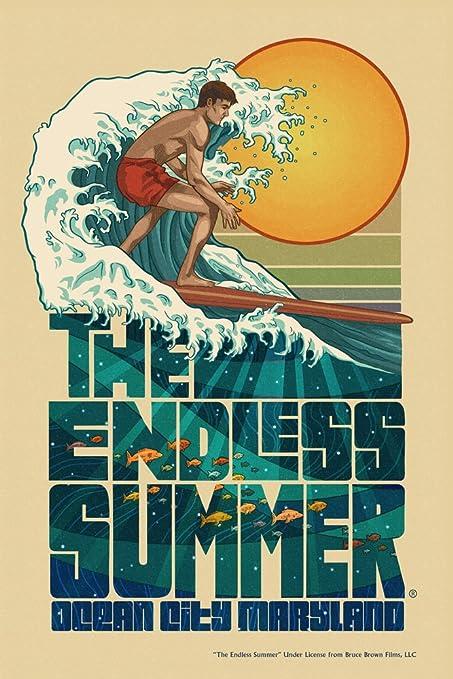 Amazon.com: Ocean City, Maryland - The Endless Summer - Underwater Scene (12x18 Art Print, Wall Decor Travel Poster): Everything Else