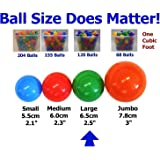 """BOGO Pack of 200 (100+100) Large 2.5"""" Soft Plastic Pit Ball in 5 Bright Colors - Air-Filled; True-to-Size; Phthalate Free; BPA Free; non-PVC; non-Recycled Material"""