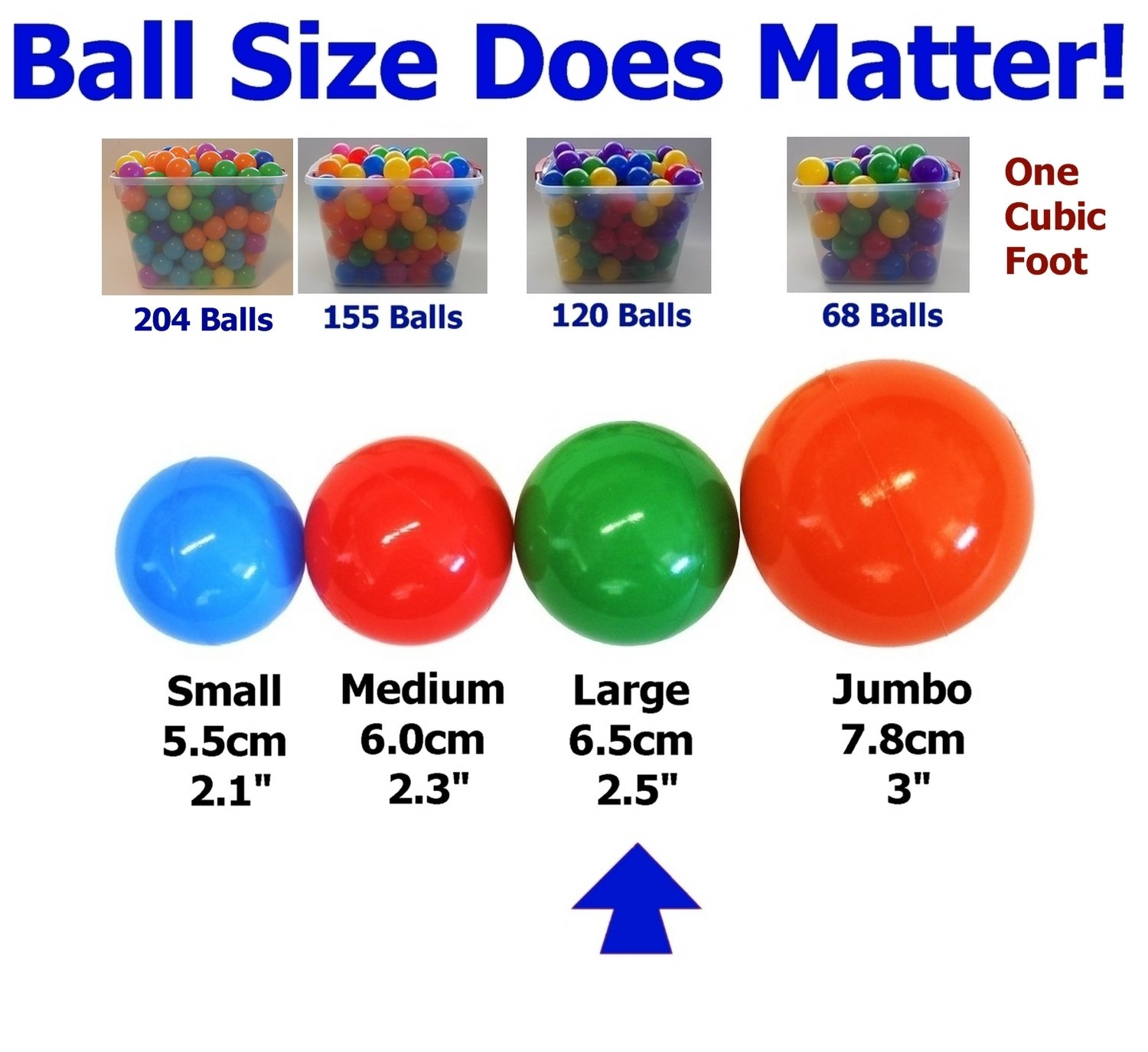 My Balls Pack of 500 Large 2.5'' 65mm Ball Pit Balls in 5 Bright Colors - Crush-Proof Air-Filled; Phthalate Free; BPA Free; Non-Toxic; Non-PVC; Non-Recycled Plastic by My Balls by CMS (Image #2)