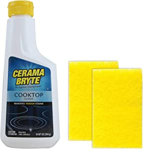 Cerama Bryte Ceramic Cooktop Cleaner (10 oz), 2 Cleaning Pads Combo Kit