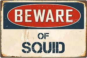 """StickerPirate Beware of Squid 8"""" x 12"""" Vintage Aluminum Retro Metal Sign VS400"""
