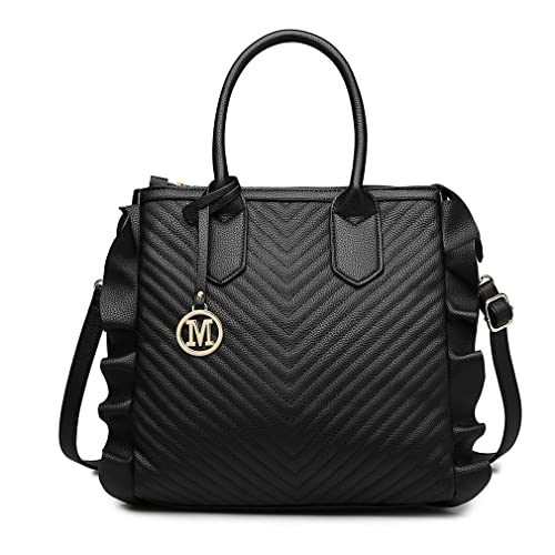 af5a6003bd06 Miss Lulu Women Top Handle Bag Pu Leather Look Quilted Ruffle Handbag Large  Capacity Zipper Shoulder