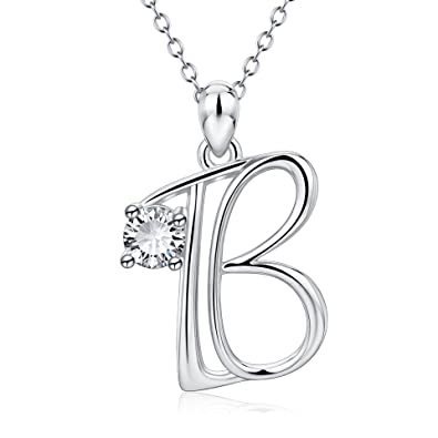 3772d5dade665d YFN Initial Necklace 925 Sterling Silver Letter B Alphabet Pendant Necklace  Jewelry Gifts for Women Teen Girls: Amazon.co.uk: Jewellery