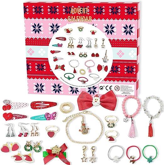 24PCS Advent Calendar Jewelry DIY Bracelet Necklace Set Fashion Christmas  Kids