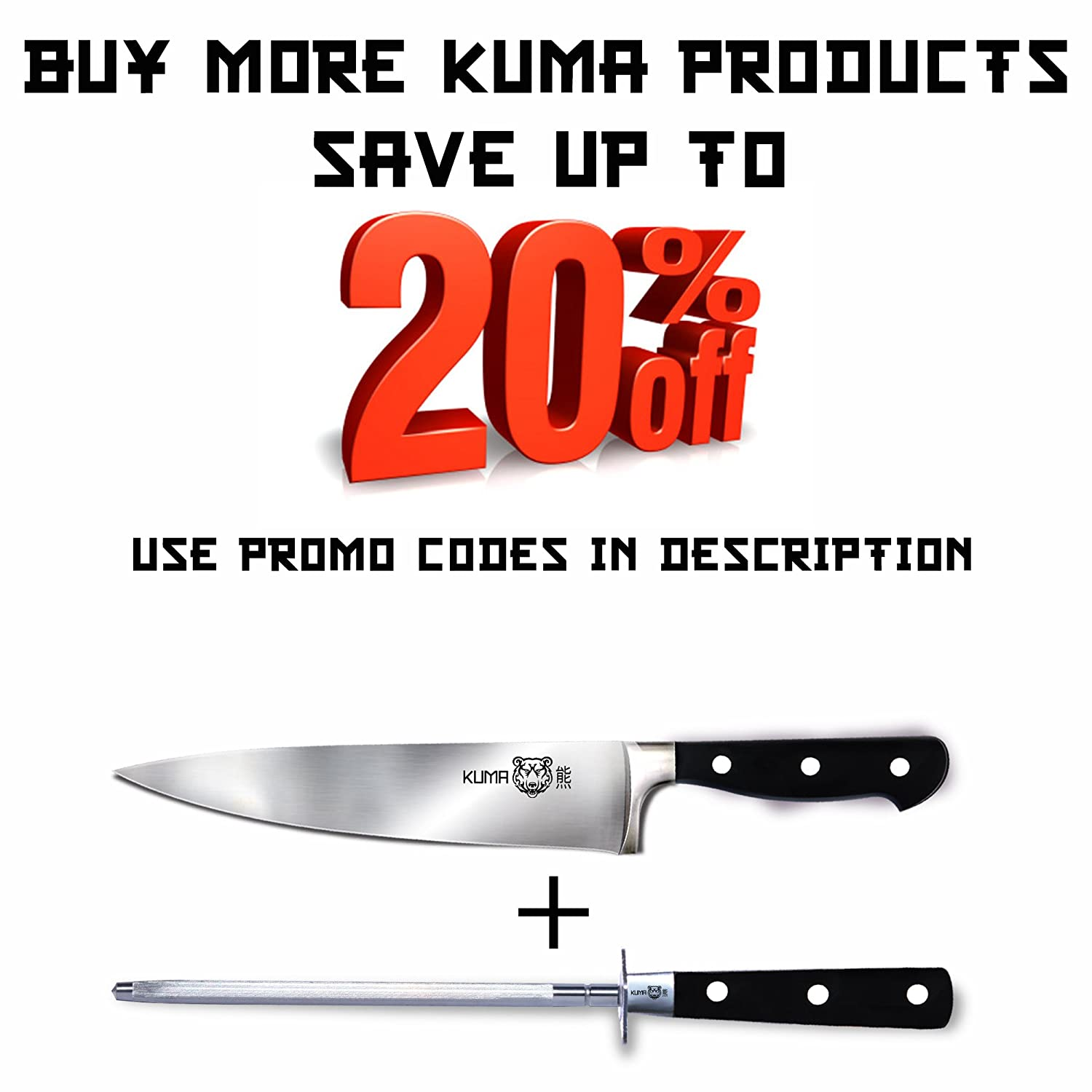 amazon com kuma kitchen knife sharpener works like magic best amazon com kuma kitchen knife sharpener works like magic best 8 inch steel honing rod for sharpening your chef s knife carving knife chopping knives