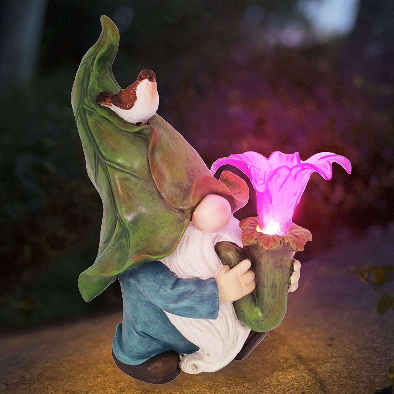 Uqfasb Solar Elf Statue Shiny Dwarf Gnome Dove Outdoor Garden Turban Terrace Garden Decoration