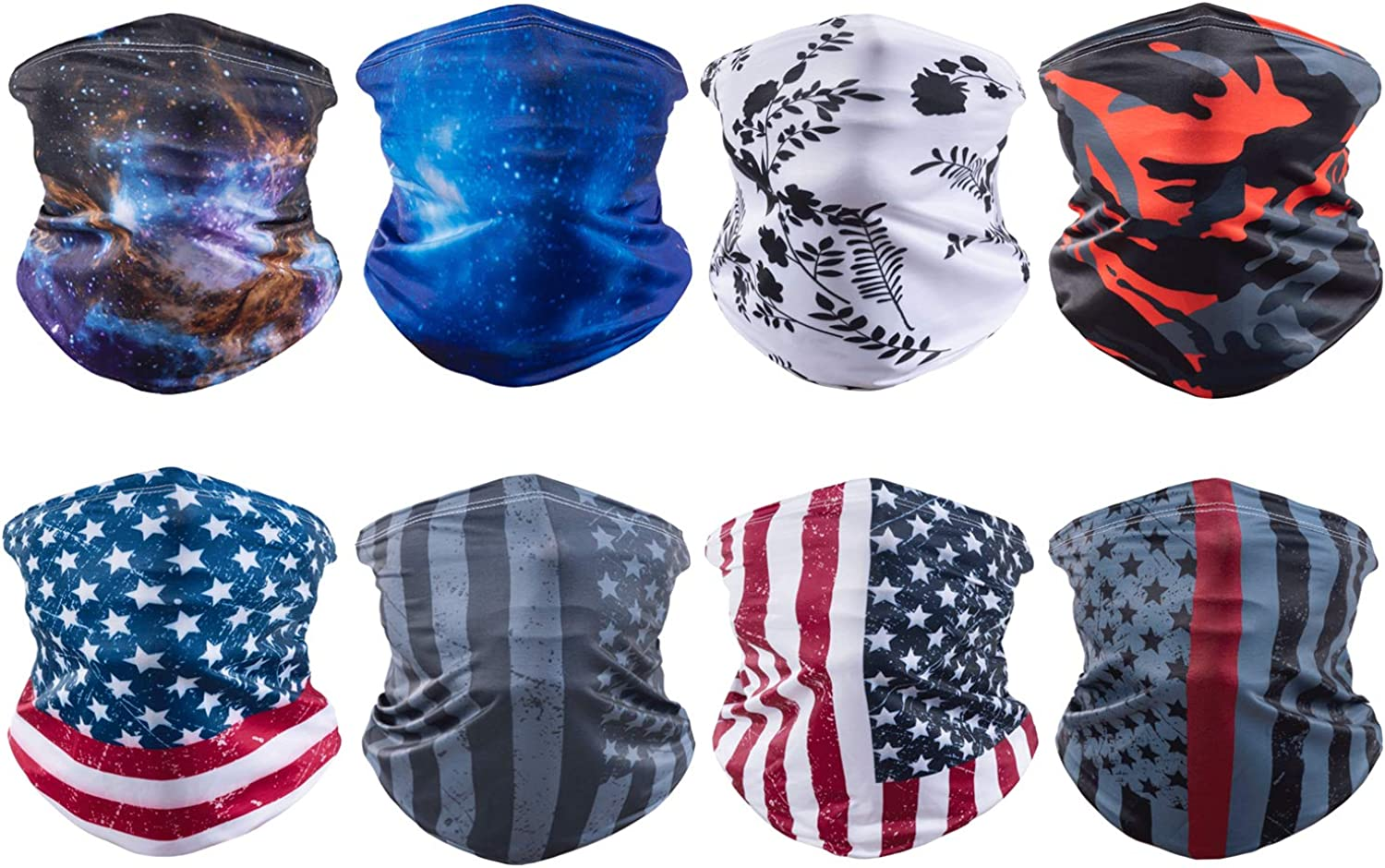 8 Pack Ice Silk Cooling Face Mask Bandanas Sun UV Protection Neck Gaiter Scarf Headwear for Outdoor Sports