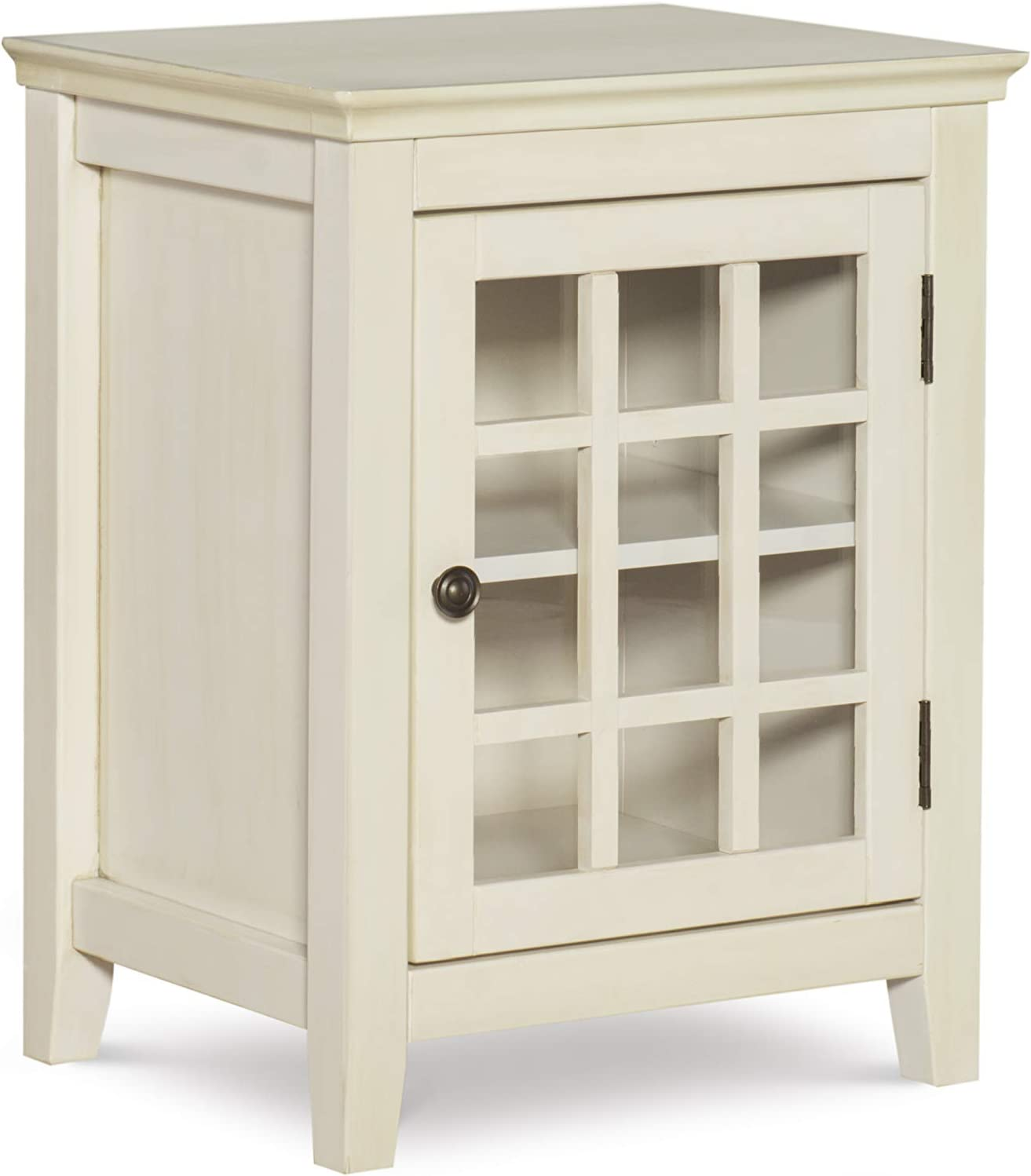 Linon Reed Distressed White Single Door Cabinet