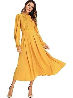 d7fa1abfee1 SOLY HUX Femme Robe à Manches Longues Maxi Robe Long Robe Plissé avec  Manche Lanterne À…