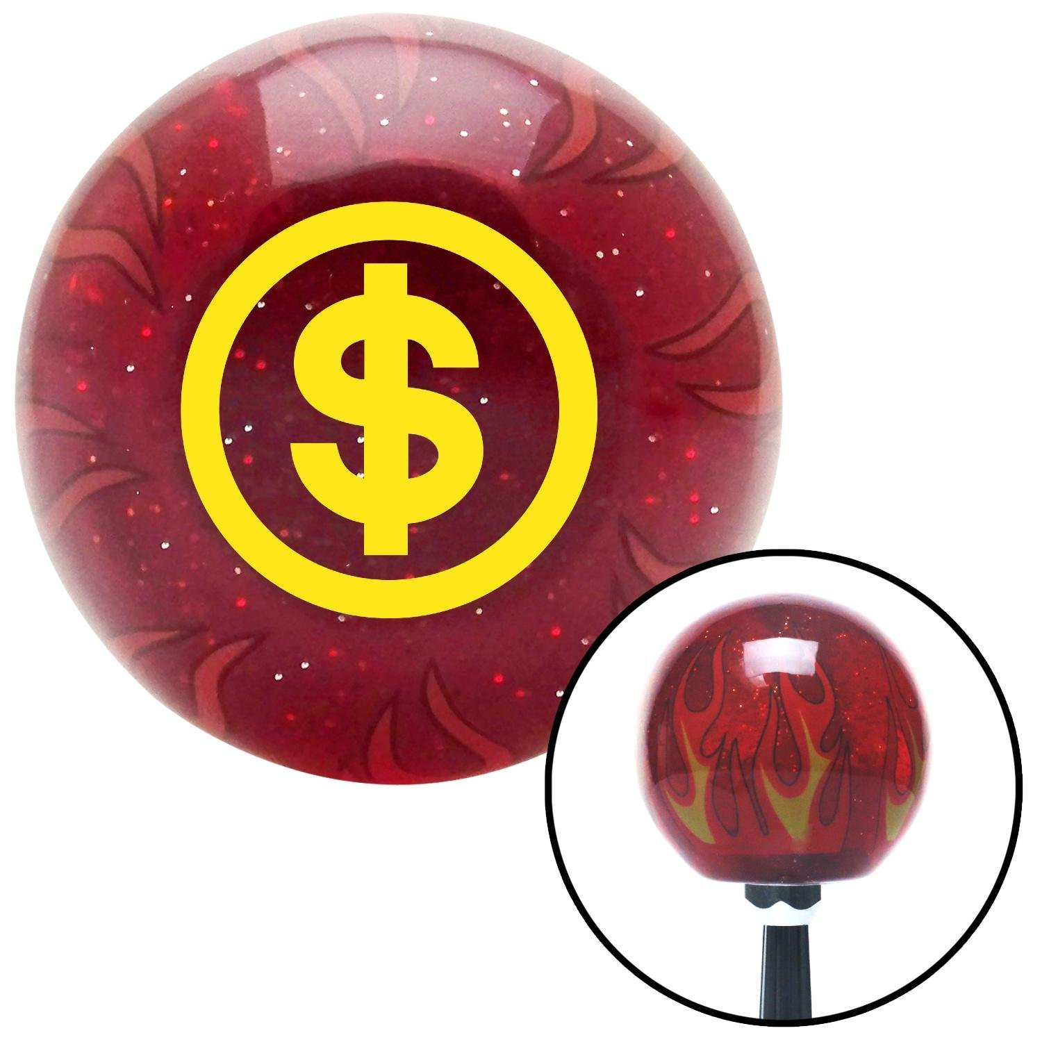 American Shifter 239788 Red Flame Metal Flake Shift Knob with M16 x 1.5 Insert Yellow Money
