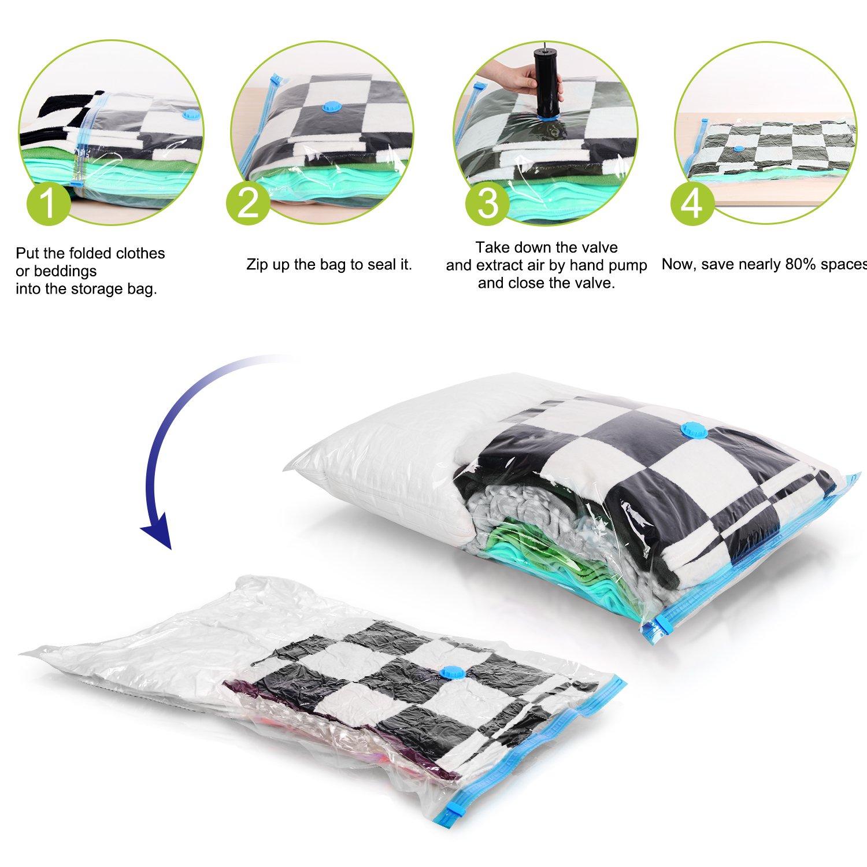 Sacs Housses de Rangement sous Vide ADORIC Pompe Aspirateur 6 Pack