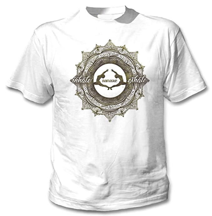 teesquare1st Yoga Namaste Exhale inxale Camiseta Blanca para ...