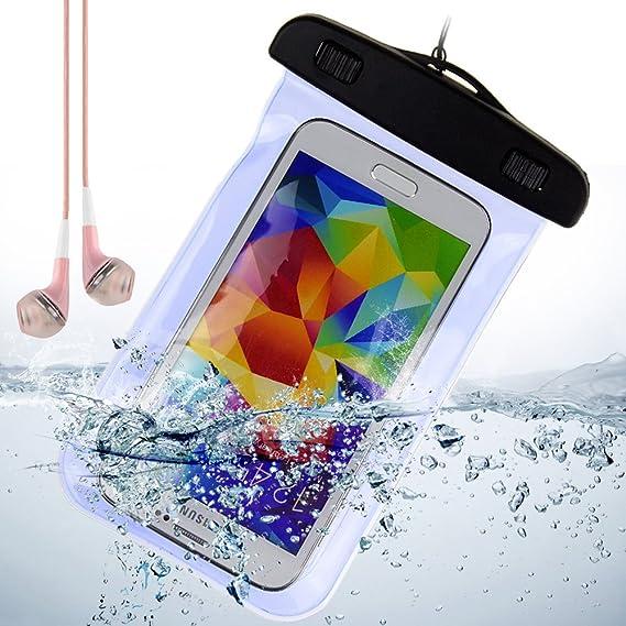 the latest abb53 fb2e3 Blue Waterproof Pouch Dry Bag Case for Samsung Galaxy S5 / S4 / Motorola  Moto x / Moto g / DROID MAXX + VanGoddy Headphone with MIC , Pink