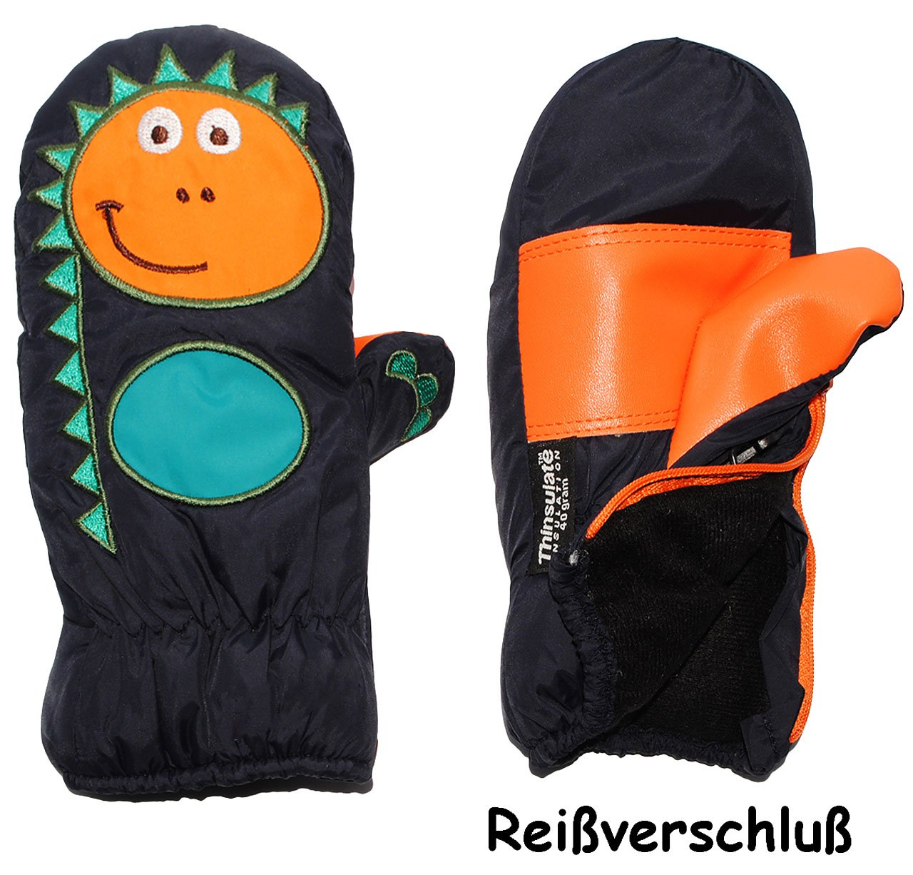 alles-meine.de GmbH Fausthandschuhe - mit Reißverschluß & langem Schaft - Gr. 9 Monate bis 12 Monate - lustiger Dinosaurier - dunkel blau - LEICHT anzuziehen ! mit Daumen - T..