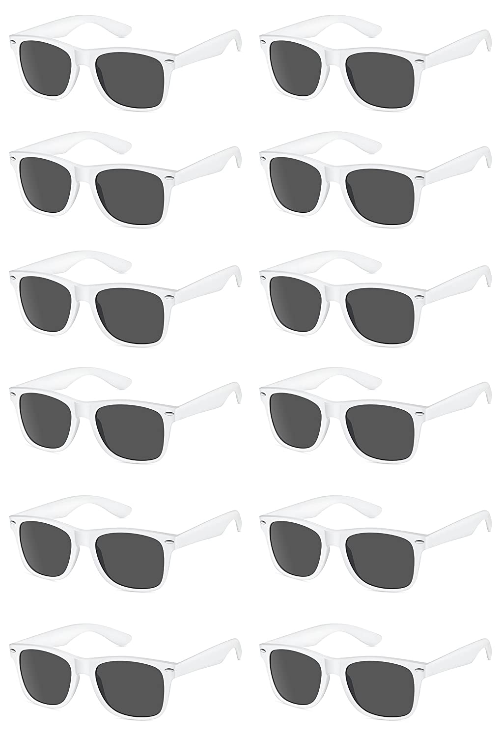 5722e80200 Amazon.com  TheGag White Wayfarer Sunglasses Party Pack-12 Pure White  Premium Quality Plastic-Wholesale Bulk  Toys   Games