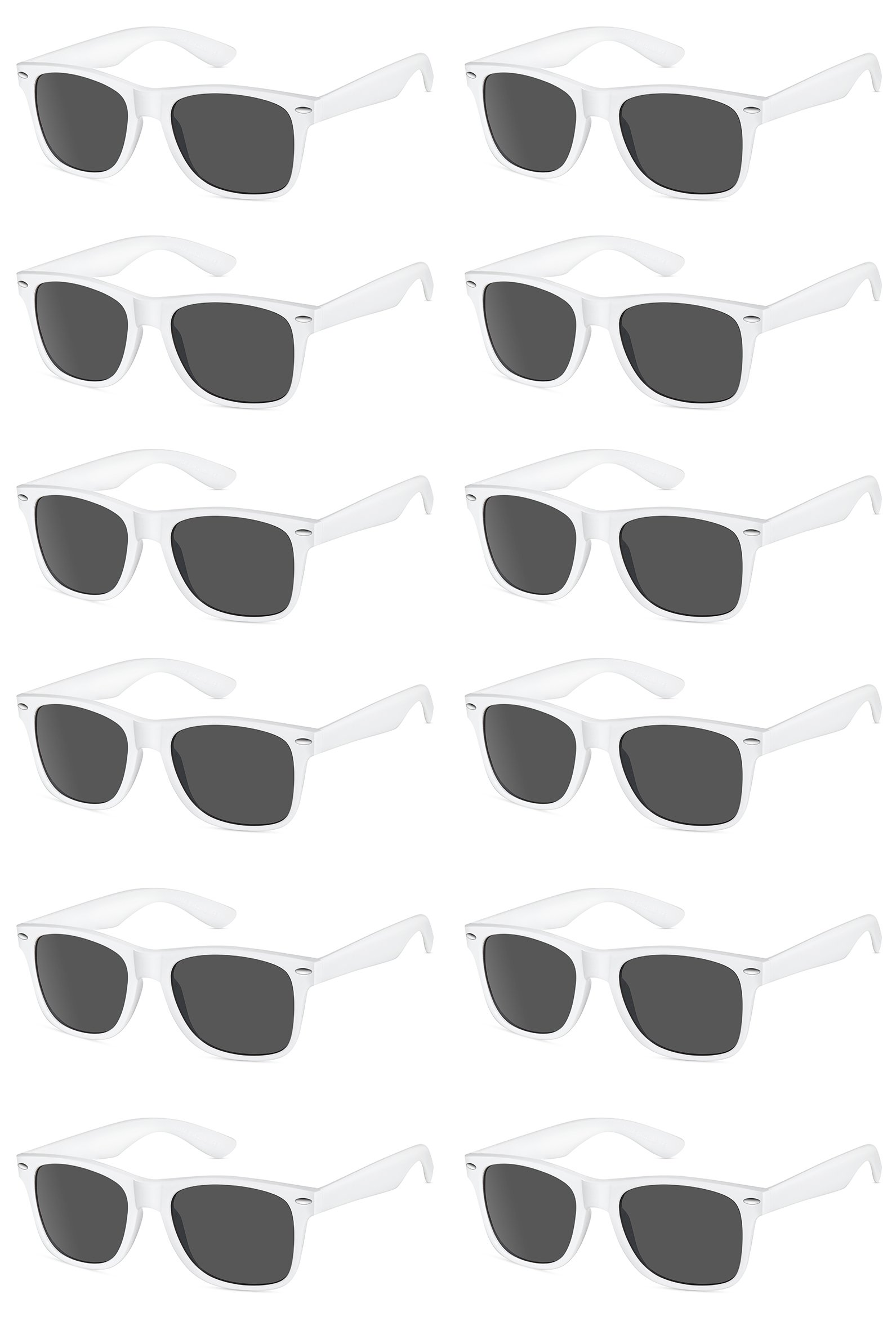 TheGag White Wayfarer Sunglasses Party Pack-12 Pure White Premium Quality Plastic-Wholesale Bulk from
