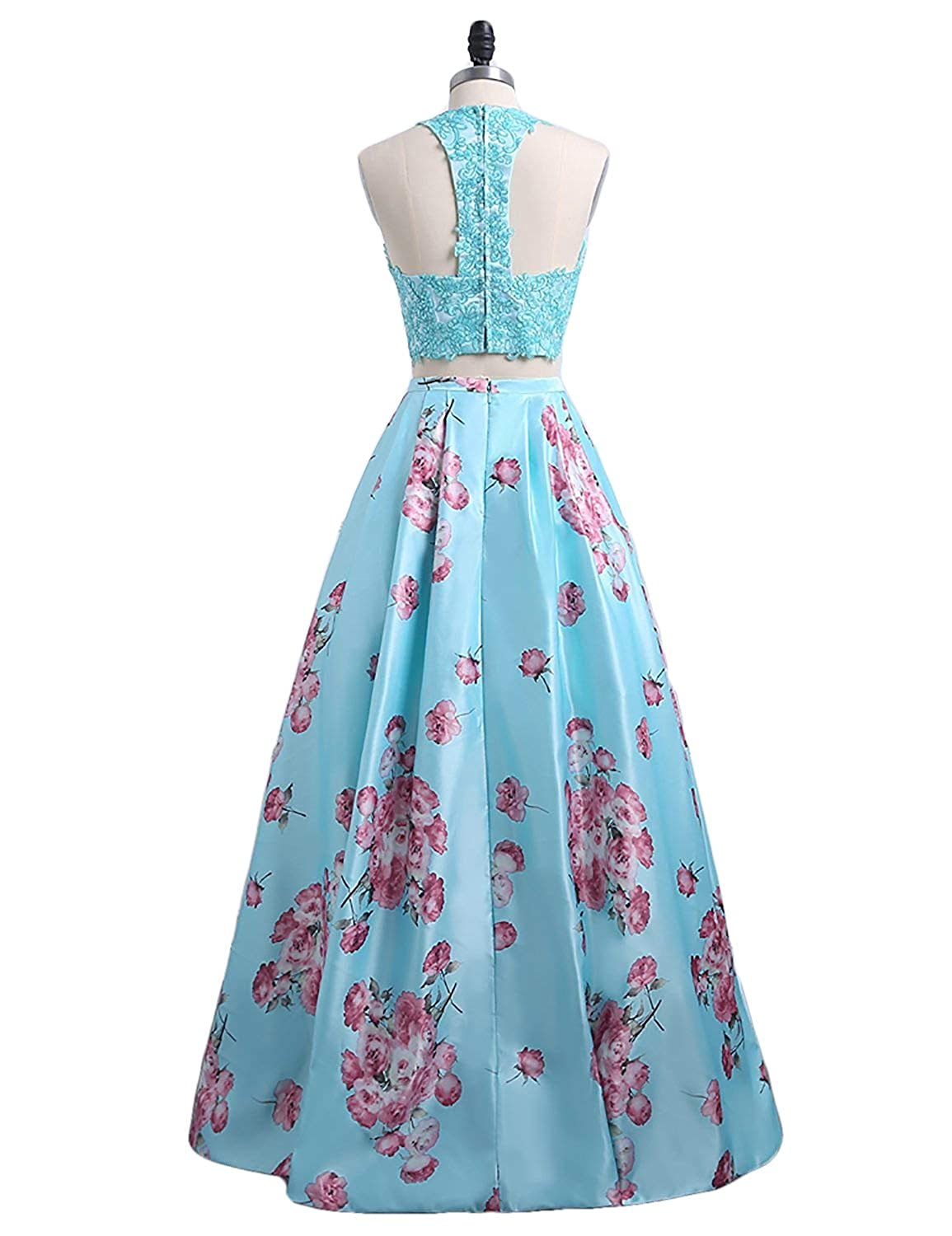 431d743c6c Yiweir Women s Prom Dresses 2018 Long Two Piece Halter Print Flowers Satin  Lace Formal Gown P158 at Amazon Women s Clothing store