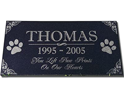 You Left Paw Prints on Our Hearts Pet Memorial Stones Personalized Headstone Grave Marker Absolute Black Granite Garden Plaque Engraved