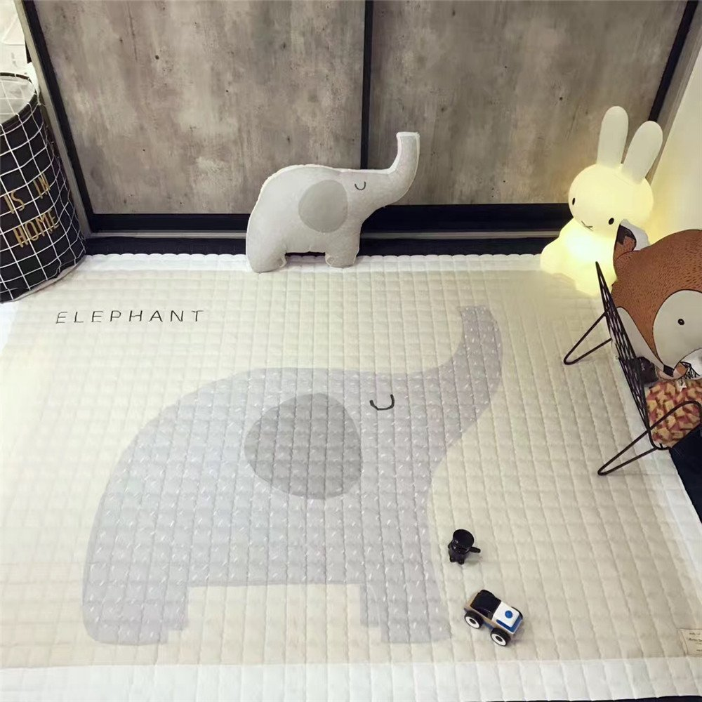 Soft Cotton Animal Thick Carpet Pad Crawling Mat Playmat for Baby Creeping for Bedroom Living Room Bear