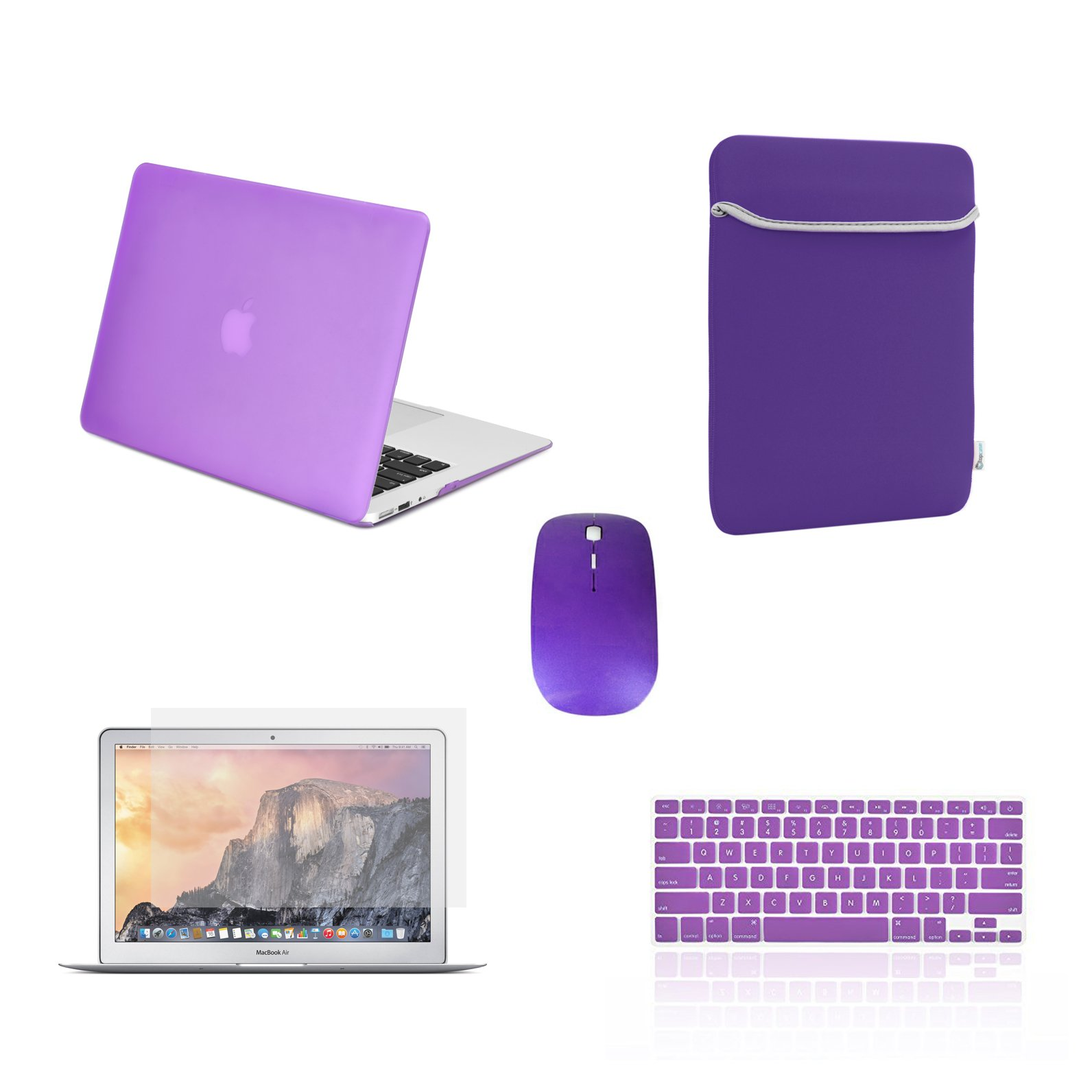 TOP CASE - 5 in 1 Bundle Deal Rubberized Hard Case, Keyboard Cover, Screen Protector, Sleeve Bag and Mouse Compatible with Apple MacBook Air 13'' A1369 & A1466 - Purple