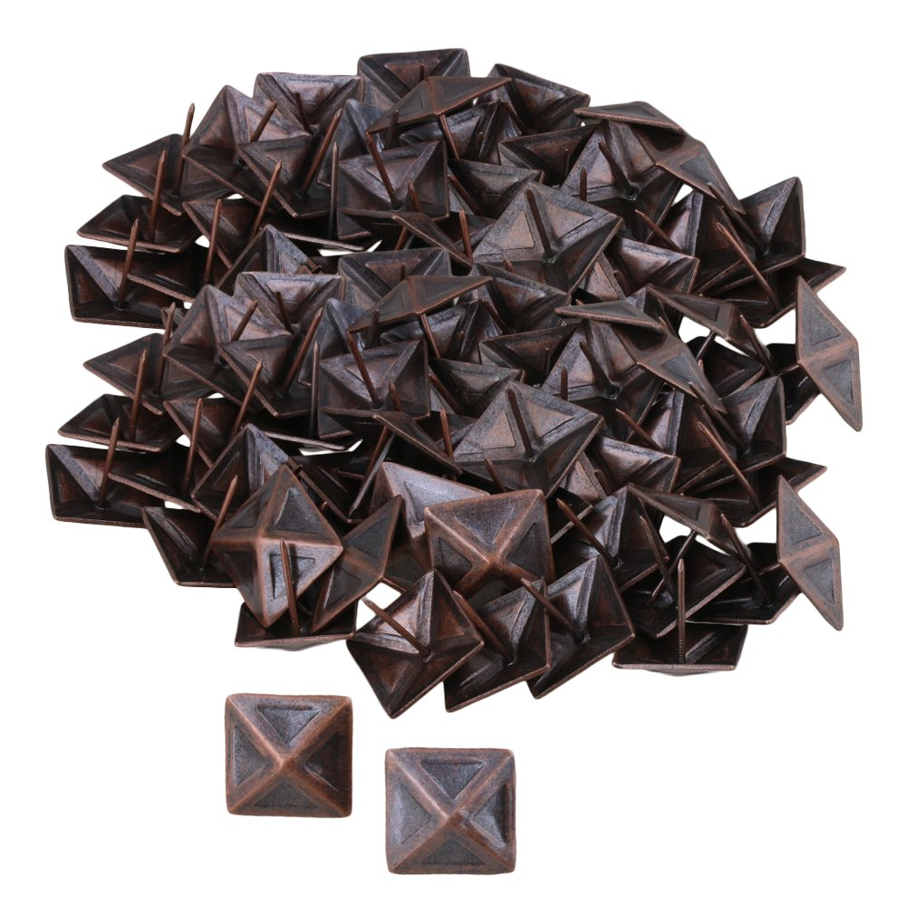 RDEXP Vintage Square Upholstery Furniture Decorative Stud Nails Pins Tacks 30x30mm Set of 100 (red bronze)