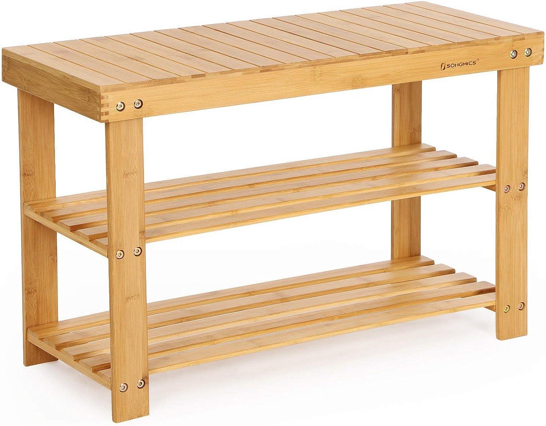 SONGMICS 3-Tier Bamboo Shoe Bench, Shoe Rack Storage Organizer, 70 x 28 x 45 cm, ideal for Hallway, Bathroom, Living Room and Corridor LBS04N