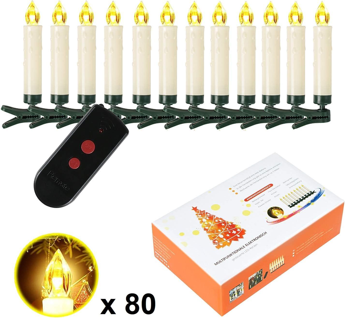 50 Stk SunJas 10//20//30//40 er Weinachten LED Kerzen Lichterkette Kerzen Weihnachtskerzen Weihnachtsbaum Kerzen mit Fernbedienung Kabellos